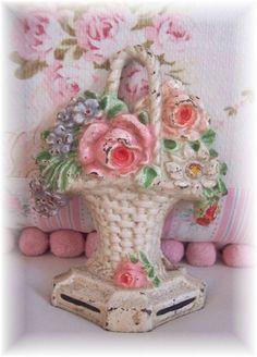Vintage Hubley Cast Iron Basket Doorstop