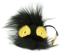Fendi Black Yellow Grimmy and Fur Bag Bug Monster Key Chain Bag Charm f80b849041