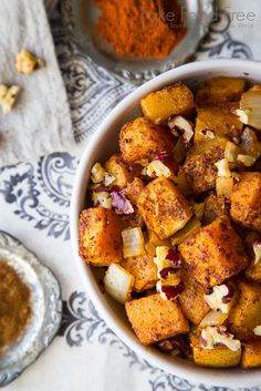 This roasted butternut squash is combined with autumn pears, walnuts and savory spices for a delicious side dish that is perfect for the holiday season.