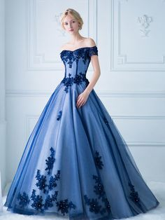 Tulle Prom Dress Ball Gown Off-The-Shoulder Long/Floor-Length With Appliqued