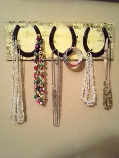 horseshoe necklace holder...horseshoe accessory by ShabbyWorks, $37.50