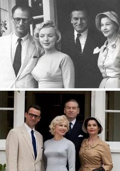 My Week With Marilyn. Dougray Scott (Arthur Miller), Michelle Williams (Marilyn Monroe), Kenneth Branagh (Sir Laurence Oliver), and Julia Ormond (Viven Leigh).