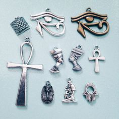 Egyptian, Hamsa Palm, Hand, Ankh, Nefertiti, Eye of Ra, Pyramid, Egypt, Beads, Charms, Antique Silver, Jewellery Making DIY Crafts Supplies