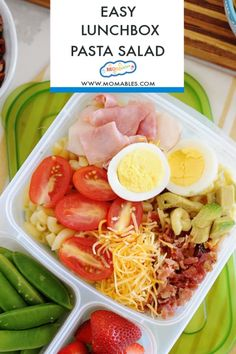 This Cobb Pasta Salad is loaded with bacon, deli cuts, cheese, avocado, and tomatoes. The perfect summer dish for picnic lunches or dinner. Lunch Box Recipes, Salad Recipes, Lunch Ideas, Fish Salad, Pasta Salad, Tuna Fish Recipes, Healthy Snacks, Healthy Eating, Classic Salad