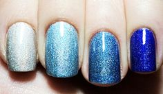 I think this was done by using silver as a base, and a translucent blue in 1, 2, 3 layers respectively.  Must try!