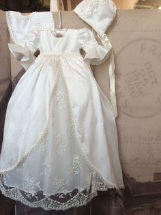 Christening boy or girl Royal Gown with Bonnet-heirloom baptism-Jensen