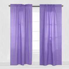 Bacati - MixNMatch Pin Dots Curtain Panel 42 x 84 inches 100% Cotton Percale Fabrics, Purple