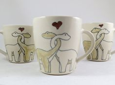Wedding Gift - Engagement Gift - Pair of Two Matching Ceramic Mugs - Dinosaurs in Love