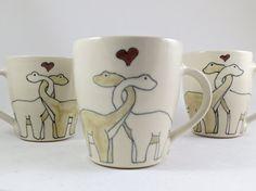 Dinosaurs in Love Handmade Ceramic Coffee Cup