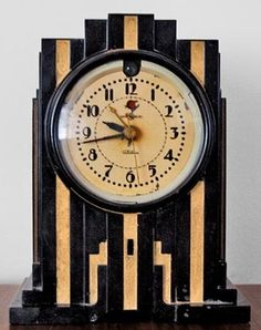 Art Deco Clock: What Is It? What Is It Worth? Antique Art Deco Clock circa 1940 ~ Painted slate with gilt highlights typical of the Art Deco style, which became popular in the & is known for its elegant, refined materials & geometric forms ~ Made Art Deco Stil, Art Deco Home, Art Deco Era, Art Nouveau, Blog Art, Radio Antigua, Art Deco Furniture, Modern Furniture, Plywood Furniture