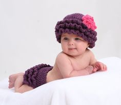 Baby Girl RUFFLE Diaper Cover and Hat Set 03 by pixieharmony, $44.95