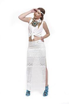 Φούστα δαντέλα ελαστική βαμβακερή maxi με άνοιγμα και φαρδύ λάστιχο στην  μέση και μονόχρωμη εσωτερική mini φούστα. Bellino Fashion d3c0ff8f063