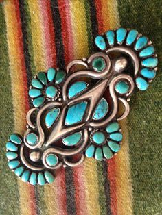 Vintage, possibly transition Zuni/Navajo brooch. Possibly Ondelacy or Tsabetsaye. Vintage Turquoise, Coral Turquoise, Turquoise Jewelry, Vintage Silver, Silver Jewelry, Antique Jewelry, Navajo Jewelry, Hippie Jewelry, Southwest Jewelry