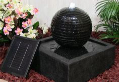 Outdoor+Classics+Square+Solar+on+Demand+Black+Ball+Fountain+w/+LED+Lights
