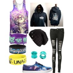 """Untitled #5"" by bazingajuice on Polyvore I had that pierce the veil bracelet but it broke"