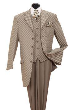 Milano Moda Lt. Olive Square Print Pattern Vested Urban Men Suits 2910V