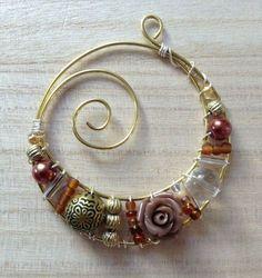 Wire & bead wrapped pendant #diyjewelrymaking