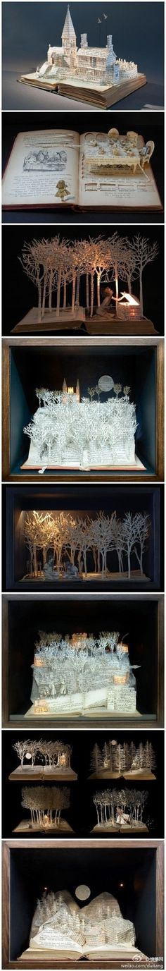 British female artist Su Blackwell, paper cutting and origami sculpture of a childhood fantasy from the book brought to reality by sammsfamily