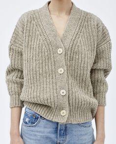 babaà cardigan mist — pure wool cardigan with organic bone buttons. Mohair Sweater, Wool Cardigan, Winter Cardigan, Sweater Weather, Knitwear Fashion, Camille, Cardigans For Women, Knit Patterns, Lana