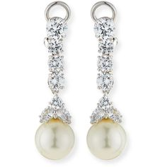 Fantasia by DeSerio CZ & Simulated Pearl Long Drop Earrings (9.898.000 VND) ❤ liked on Polyvore featuring jewelry, earrings, white pearl, cz drop earrings, 18k earrings, fake pearl earrings, cz earrings and cubic zirconia earrings