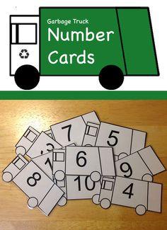 Cute garbage truck printable for number practice Preschool Learning, Preschool Activities, Preschool Names, Teaching, Math Classroom, Classroom Activities, Garbage Truck Party, Transportation Unit, Community Helpers Preschool