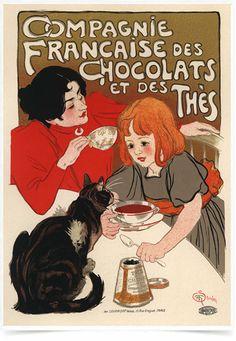 Poster The Belle Epoque Chocolats Thes impresso com tecnologia HighHD de alta definição em papel semi-glossy especial com gramatura 250g no tamanho A3 (42x29cm) com cores vibrantes.