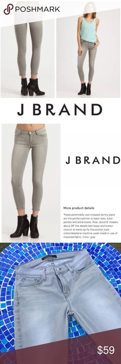 """LIKE NEW J Brand midrise crop skinny jean in grey Absolutely fabulous J Brand skinnies are available in a unique shade 'ventura' or grey with total versatility to pair with every top in your closet!  They are just in time for the season, looking amazing all day & pairing perfectly with ankle boots all night!  Size 28. Waist measures 14"""" lying flat with an 8.5"""" rise & 25"""" inseam.  Crafted from 98% cotton & 2% elastin w/ an incredible stretch to feel as great as they look!  Retails at $222…"""