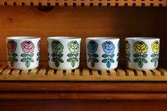 Marimekko Vihkiruusu Latte Mug Pink Yellow Blue Green Set Brand New Pink Yellow, Blue Green, Latte Mugs, Lassi, Marimekko, Brand New, Ceramics, My Favorite Things, Tableware