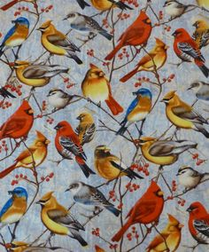 of July SALE - Cotton Fabric, Home Decor Cotton Fabric, Quilt Cotton Fabric, Winter Gathering by Cynthie Fisher for Wilmington Prints, B Wilmington Prints, Warm And Cozy, Fisher, 4th Of July, Cotton Fabric, Birds, Quilts, Handmade Gifts, Painting