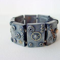 Steam punk Tile Bracelet - Polymer Clay | JewelryLessons.com