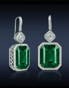 Emerald and Diamond Earrings. Jacob  Co.