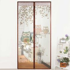Cute Cartoon Owl Pattern Magnet Mosquito Net Magnetic Anti Mosquito Curtains Door Curtains Prevent Mosquito Screen