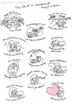 Life of an international fangirl #kpop Alll of this except being teased about kpop, i tease others for NOT listening to it... :)