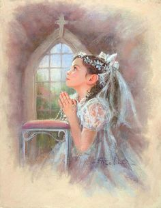 My First Communion Prayer II ~ Kathy Fincher Communion Prayer, Communion Gifts, First Holy Communion, Vintage Holy Cards, Vintage Images, Academic Drawing, Little Prayer, Easter Religious, Religious Images