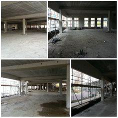 Het toekomstige winkelcentrum van Berkel en Rodenrijs.. De lege, grote ruimte geeft een kleine impressie van de plaats waar in de zomer winkels zich vestigen