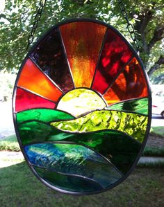 Stained Glass Window Suncatcher Sunset Ocean by SuzanneEmerson