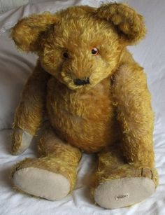 "A huge 28"" Antique Mohair Bear with Alpha Farnell Label....Cute as can be!   Photo via Ebay...."