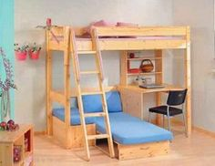 loft beds with couch underneath | ... Pine High Sleeper - Bunk Bed with Fouton couch/bed and desk underneath