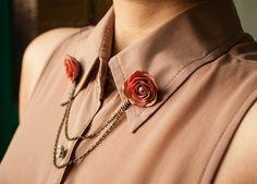 rose collar tips collar brooch handmade rose by Joyloveclay