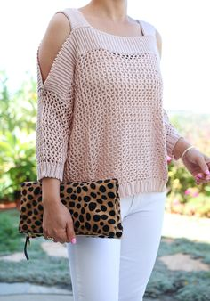 Blush pink Cold Shoulder Knit Sweater, Leopard foldover clutch, white jeans, petite fashion, Fall neutral outfits - click the photo for outfit details!