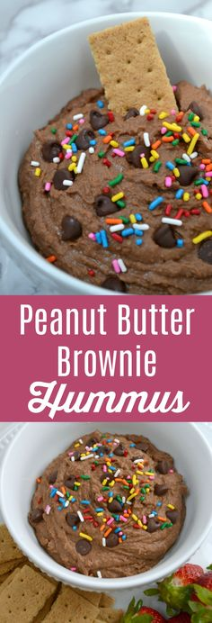 Peanut Butter Brownie Hummus is a quick and easy recipe that will satisfy your sweet tooth without sacrificing your diet. Serve as an appetizer or simple dessert!