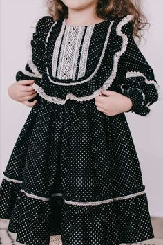 Polka Dot Baby Dress From Organic Cotton - French Baby Clothes - Vintage Retro Style - Historical Frock - Wedding Baby Dress - Black Dress