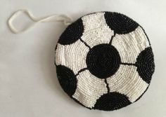 Soccer Ball Coin Purse Beaded Zipper Closure Wrist Sling Coach Sports Mom Gifts #HandBeaded