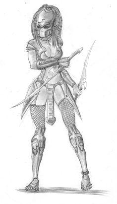 Female Predator II by Alien Drawings, Dark Art Drawings, Fantasy Warrior, Fantasy Art, Predator Cosplay, Aliens Colonial Marines, Female Monster, Predator Alien, Tribal Warrior