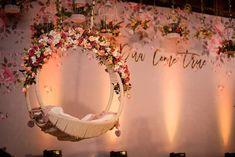 Elegant pink themed cradle décor by Sugar Plum Events. Wedding Backdrop Design, Desi Wedding Decor, Wedding Hall Decorations, Wedding Stage Design, Wedding Entrance, Backdrop Decorations, Wedding Mandap, Wedding Receptions, Flower Decorations