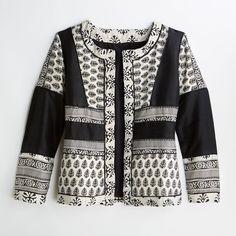Beautifully pieced block printed cotton jacket