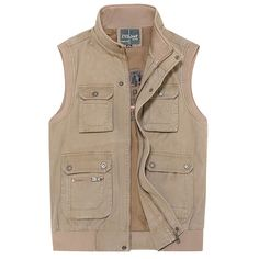 Sale 18% (41.99$) - Mens Plus Size Outdoor Casual Multi-Pocket Fishing Cotton Vest Stand Collar Waistcoat