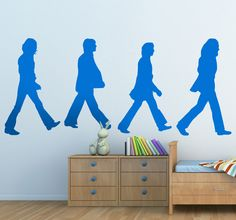 Wall Sticker with a silhouette illustration of the famous Abbey Road album cover from the English rock band the Beatles. An iconic image to decorate your home with if you are a fan of the fab four! #TheBeatles #Music #Sticker
