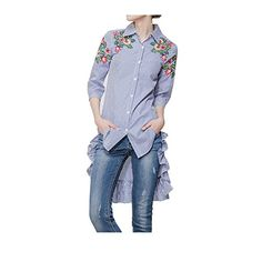Beautifullight Jumpsuits-apparel Beautifullight Great,Good looking new ladies summer dress cotton embroidery floral stripe dresses turn-down collar 3/4 sleeve ruffles high low shirt dress Fashion