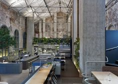 Australian architecture studio Design Office has converted a former power station in Melbourne into a cafe and restaurant with exposed brickwork and abundant planting. Australian Interior Design, Interior Design Awards, Australian Architecture, Interior Architecture, Melbourne Architecture, Interior Work, Contemporary Architecture, Design Moderne, Cafe Design